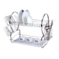 Dish Drainers E4emporium 2 Tier Dish Drainer Chrome Rack With Glass Utensil