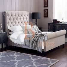 Velvet Sleigh Bed Paris Luxe Padded Scroll Sleigh Bed Frame With Cushion Tufted