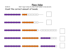tens and units worksheets using beaded string by