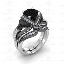 skull wedding ring sets sapphire studios aphrodite 1 85ct white black gold skull bridal set