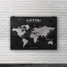 World Map Us by Places We U0027ve Been Map World Map 1st Anniversary Gift
