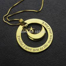 I Love You To The Moon And Back Personalized Necklace Custom Name Necklace Gold Color Personalized I Love You To The