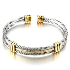 bangle bracelet mens images Men women stainless steel twisted cable adjustable jpg