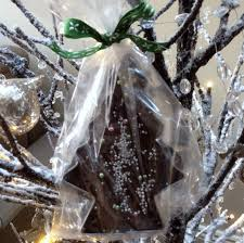 chocolate fudge christmas trees wrapped in cellophane the