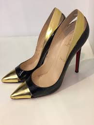 christian louboutin high gloss gold trim pumps size 41 u2013 get