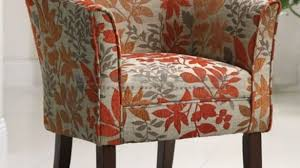 Barrel Accent Chair Coaster Orange Leaf Print Barrel Accent Chair 460407 With