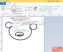how to use free form selection tool in ms paint windows 8