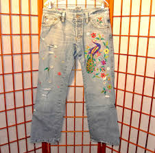 Used Jeans Clothing Line Dsquared2 Used Peacock Embroidered Vintage Destroyed Jeans Pants