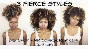 corkscrew hair 3 fierce styles with corkscrew curl clip ins big chop hair