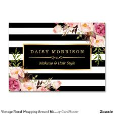 elegant vintage chic floral striped beauty salon business card