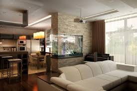 Glass Partition Between Living Room And Kitchen Kitchen Interior Living Room In A Private House Design Ideas With