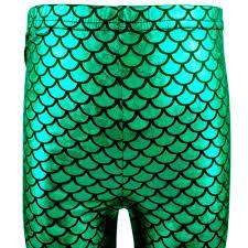 little girls fish scale mermaid print shiny slim fit leggings