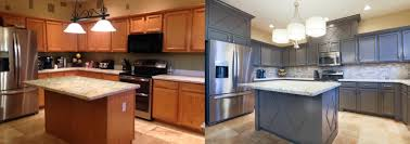 Kitchen Cabinet Restaining Refurbished Kitchen Cabinets Before And After Tehranway Decoration