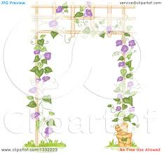 clipart of a purple flowering vine growing up a trellis royalty