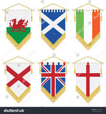 Banners Flags Pennants British Isles Ireland Flag Pennants Isolated Stock Vector