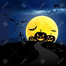 blue halloween background halloween at night on the moon and blue sky stock photo picture