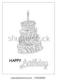 festive colorful card birthday cake tier stock vector 453903328