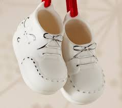 baby bootie ornament ceramic baby booties ornament pottery barn kids