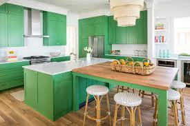 green kitchen cabinets with brass pulls and knobs transitional