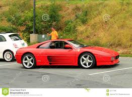ferrari side red italian sports car front side view editorial photo image