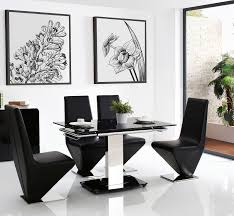 enzo extending dining set with 6 rita black chairs