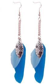 blue drop earrings blue chain leaf feather drop earrings fashion earrings trendy