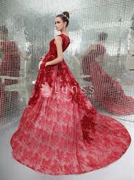extravagant embroidered illusion neck luxury ruby red evening