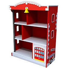 Small Red Bookcase Amazon Com Kidkraft Firehouse Bookcase Toys U0026 Games