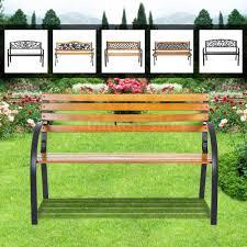 Steel Outdoor Bench Ikayaa Outdoor Garden Patio Bench Furniture Porch Backyard Lawn