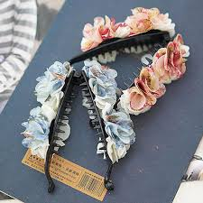 banana hair clip new arrival chiffon two color flower banana hair clip for