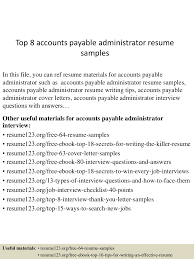 Account Payable Cover Letter Sample Top8accountspayableadministratorresumesamples 150516154922 Lva1 App6892 Thumbnail 4 Jpg Cb U003d1431791404