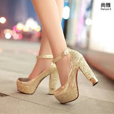 wedding shoes gold color wholesale sweet bow color block decoration thick heel high heeled