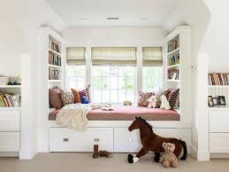 Daybed With Bookcase Kids Window Seat Daybed Transitional Girl U0027s Room