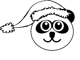 panda 1 head with santa hat black white line art christmas xmas