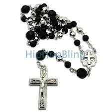 rosary necklaces black silver beaded rosary necklace hip hop rosary