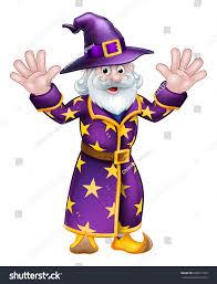 purple wizard costume cartoon halloween wizard character waving both stock vector