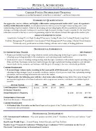 Examples Of Free Resumes by Proprietary Trading Resume Example Prop Trading Sample Resumes