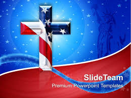 jesus christ god powerpoint templates cross with usa flag