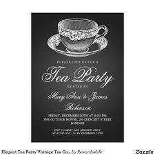 Tea Party Invitation Card Elegant Tea Party Vintage Tea Cup Black Card Tea Party