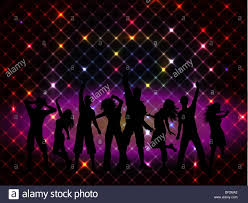 silhouettes of on a disco lights background stock