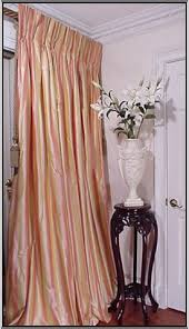 French Pleated Drapes Sumptuoussilk Com Pink And Yellow Striped Silk Drapery