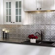 backsplash panels for kitchen fasade traditional style 10 brushed aluminum 18 in x 24 in