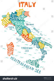Cities In Italy Map by Italy Map Regions Unique Decorative Poster Stock Vector 506430238