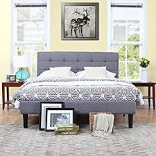 Low Profile Platform Bed Frame Amazon Com Classic Deluxe Grey Linen Low Profile Platform Bed