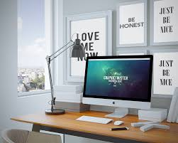 cool workspace imac presentation psd mockup template download
