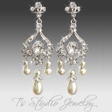 and pearl chandelier earrings pearl bridal chandelier earrings and rhinestone silver