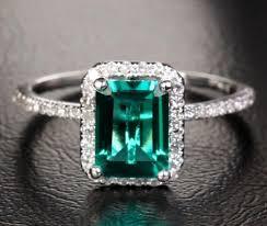 emerald gemstone rings images 379 emerald engagement ring pave diamond wedding 10k white gold jpeg