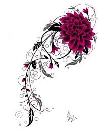 like the line and the use of circles flower tattoo design by