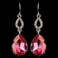 clear earrings silver fuchsia clear cz drop earrings 25285
