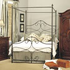 antique wrought iron canopy bed decorate a half wrought iron